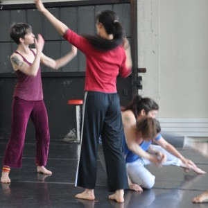 "Courtney Moreno, Peiling Kao, Erin Mei-Ling Stuart and Aura Fischbeck in Christy Funsch's ""Dissolver."" Photo by Christy Funsch."